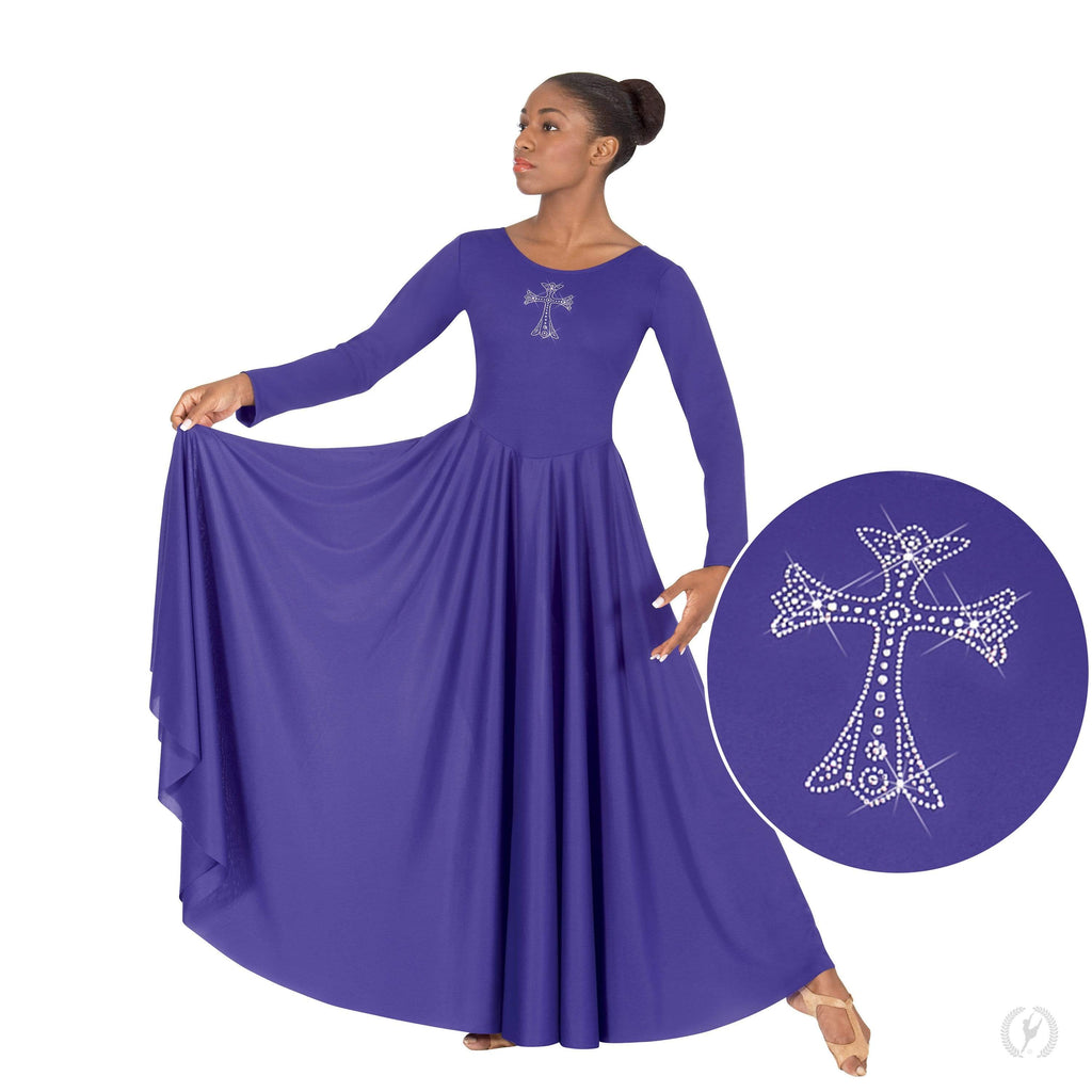 Eurotard Long Sleeve Praise Dress with Rhinestone Royal Cross Eurotard liturgical dancewear
