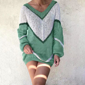 Casual V-Neck Color Block Loose Sweater