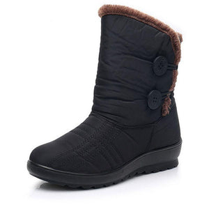 Women Winter Button Anti-slip Mid-Calf Boots