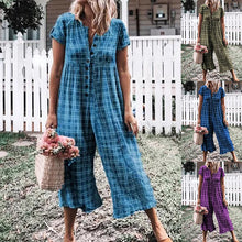 Load image into Gallery viewer, Plaid Print Single-breast Loose Jumpsuit