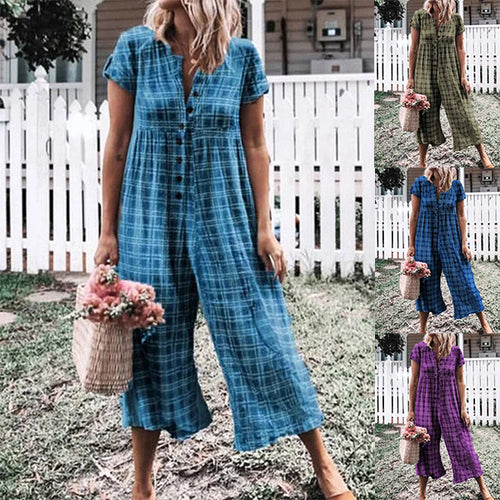 Plaid Print Single-breast Loose Jumpsuit