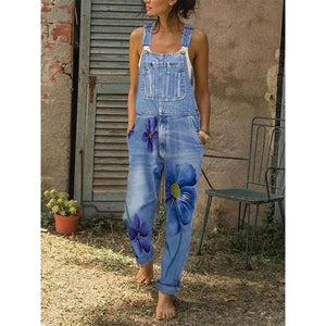 Sleeveless Denim Pockets Jumpsuits&rompers