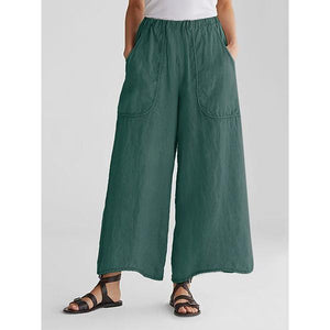 Cotton &  Linen Pockets Loose Wide Leg Casual Pants