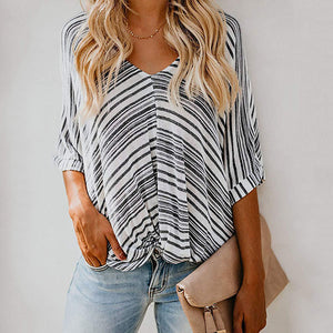 V Neck Loose Stripe Casual T-shirts