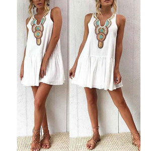 V Neck Single Breasted Printed Sleeveless Casual Dresses
