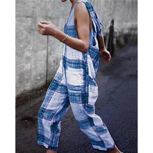 Women Plaid Casual Open Back Sleeveless Jumpsuits