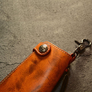 Vintage Leather Solid Color Feather Key Bag