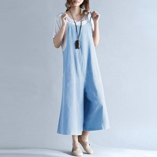 Vintage Loose Wide Leg Pants Cropped Trousers Baggy Jumpsuit