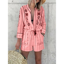 Load image into Gallery viewer, Floral Printed Casual Long Sleeves Stripes Jumpsuit Romper