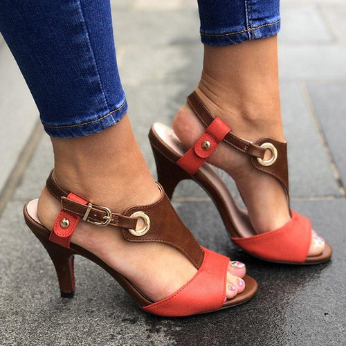 Stiletto Heel Buckle Pu Casual Women Sandals