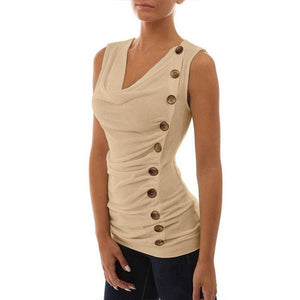 Womens Summer Sleeveless Button T-Shirts