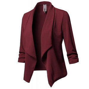 Slim Long Sleeved Solid Color Shawl Collar Blazer