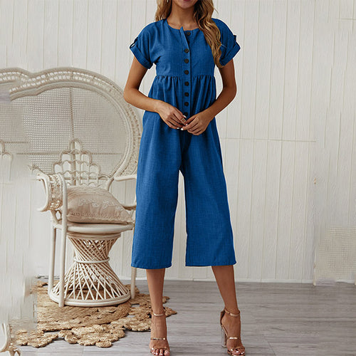 Women Button Up Short Sleeve Casual Jumpsuit