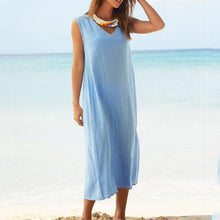 Load image into Gallery viewer, Women V Neck Sleeveless Solid Maxi Dress