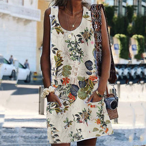 Scoop Neck Sleeveless Printed Casual Dresses