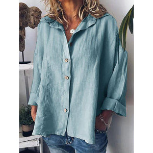 Long Sleeve Solid Shirts Plus Size Tops