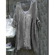 Load image into Gallery viewer, Loose Casual V-Neck Striped Bat Sleeve Plus Size Shirt