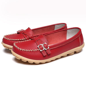 Women Casual Slip-on Double Buckle Strap Loafers Comfortable Flat Shoes
