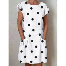 Load image into Gallery viewer, Polka Dot Crew Neck Women Dresses Shift Daily Casual