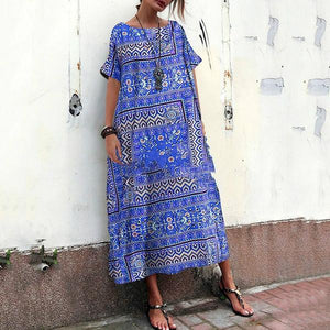 Cotton And Linen Printed Ethnic Style Short Sleeve Loose Vacation Dress