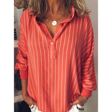 Load image into Gallery viewer, Stripes V Neck Casual Long Sleeve Plus Size Blouses