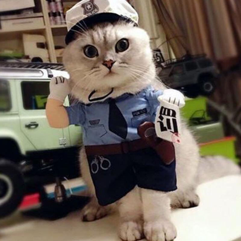 Funny Pet Cat Costume Clothes Dress Apparel Policeman Cosplay