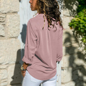 Fashion Long Sleeve Solid Color Blouse