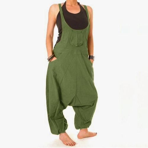 Loose Sleeveless Solid Color Drop Crotch Jumpsuits