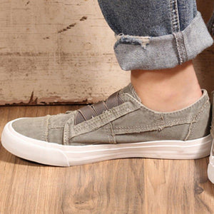 Plus Size Women Canvas Slip-on Skate Sneakers