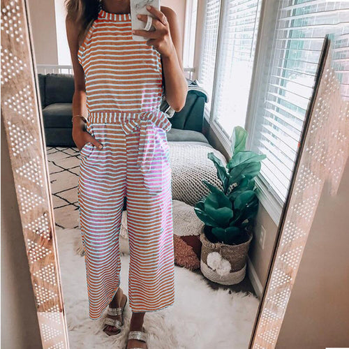 Fashion Round Neck Stripes Sexy Jumpsuits
