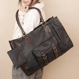 Vintage Women PU Leather Large Bags Shoulder Handbag Travel Tote Purse Book Bags