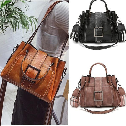 Large Capacity Retro Buckle Bucket Bag Shoulder Tote Bag