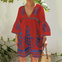 Load image into Gallery viewer, Women Boho Midi Dresses Daily Printed Floral V Neck Dresses