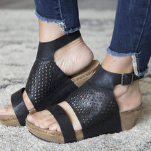 Load image into Gallery viewer, Adjustable Buckle Wedge Open Toe Sandals