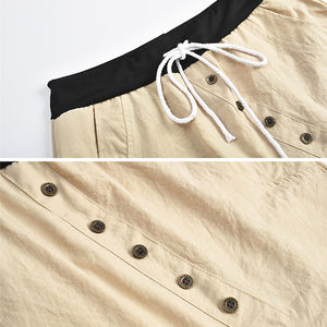 Women Fashion Button Drawstring Elastic Waist Harem Pants