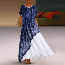 Load image into Gallery viewer, Plus Size Printed Round Neck Maxi Dress