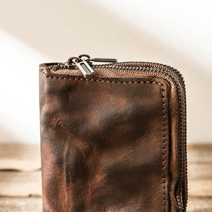 Vintage Leather Zipper Men's Multifunctional Vertical Small Wallet