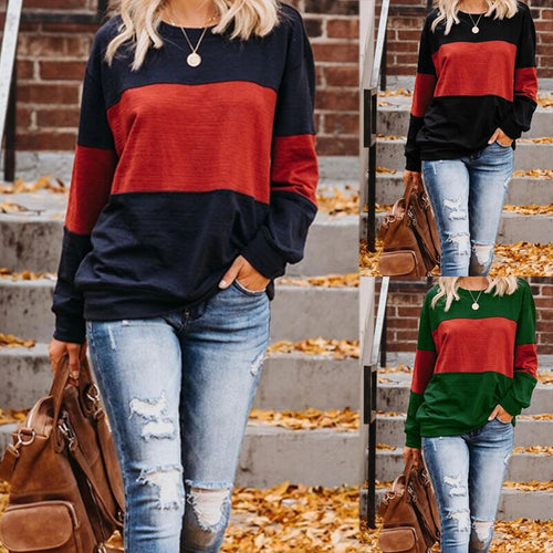Fashion Round Neck Long Sleeve Casual T-shirt