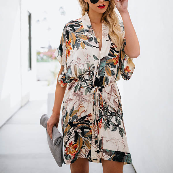 Casual Loose Floral Printed V Neck Boho Dress