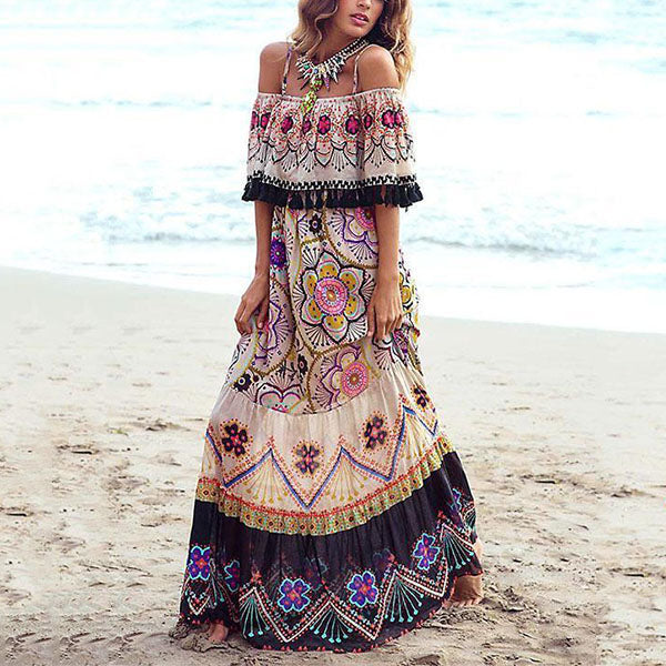 Women Bohemia Off-shoulder Floral Tassel Chiffon Maxi Dress