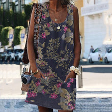 Load image into Gallery viewer, Scoop Neck Sleeveless Printed Casual Dresses