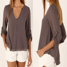 Load image into Gallery viewer, Women V Neck Solid Chiffon Long Sleeve Blouse