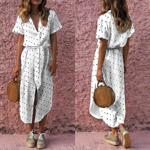 Women Sexy Wave Point V Neck Short Sleeves Vintage Dress Maxi Dress