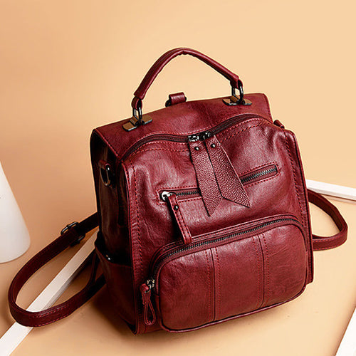 Women Soft PU Leather Multi-function Handbag Solid Large Capacity Backpack