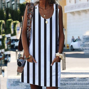 Casual Striped Sleeveless Plain Pockets Dresses