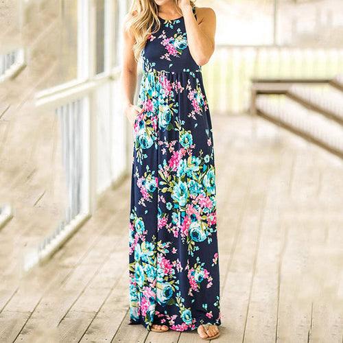 Women Fashion Loose Floral Printed Sleeveles Maxi Dress