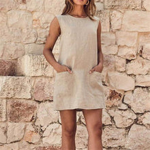 Load image into Gallery viewer, Pure Color Sleeveless Cotton And Hemp Casual Dresses