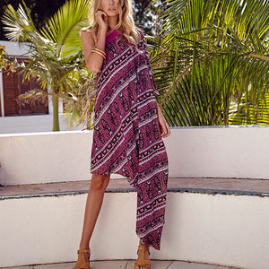 Women Off Shoulder Irregular Hem Boho Dress