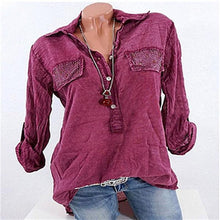Load image into Gallery viewer, Woman Casual Lace Patchwork Long Sleeve V-neck Blouses