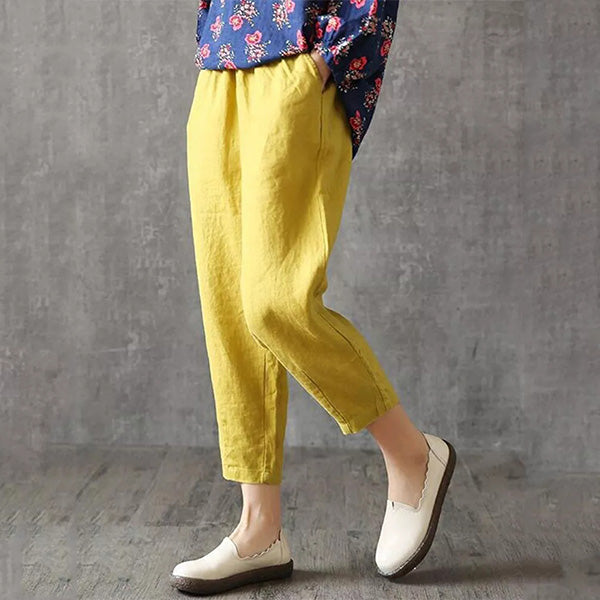Women Casual Solid Color Elastic Waist Harem Pants